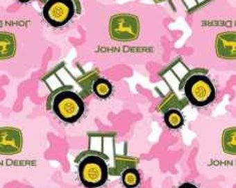 5 Yards--Pink camo John Deere Fleece fabric--5 yards
