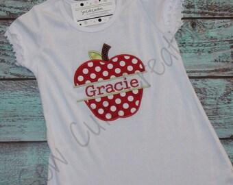 Back to School Dress, Monogram Apple Dress, first day of school dress, kindergarten dress, preschool dress, Sew Cute Creations