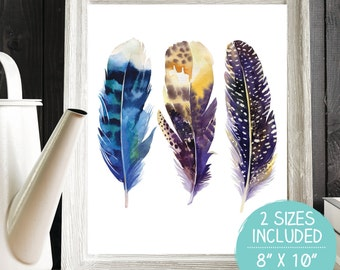 Feathers Printable, Feathers Wall Art, Feathers Print, Feathers Artwork, Tribal Print, Tribal Printable, Tribal Wall Art, Tribal Nursery Art