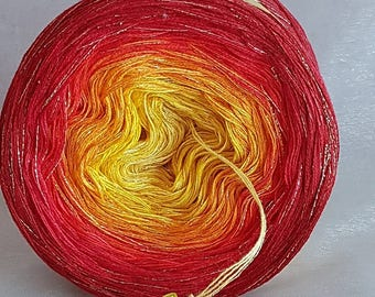 "Colour gradient yarn with glitter ""Flames"""