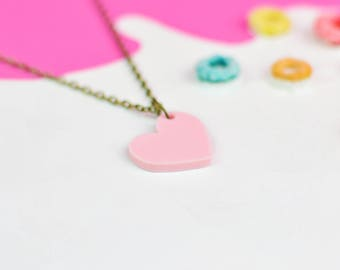 Pastel Pink Heart Necklace for Valentines Day   Valentines Gifts For Her   Jewellery for Sensitive Skin
