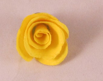 Paper Rose Bud Flower Lapel Pin - Yellow - Small - Everyday / Weddings / Proms