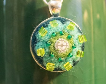 "OOAK Needle Felted Kaleidoscope Pendant - ""Beachy Keen"""