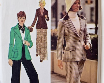 1970's Simplicity 5869 Vintage Sewing Pattern Young Contemporary Fashion Jacket and Pants UNCUT Factory Folds Bust 31.5""