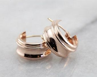 Pink Gold Hoop Earrings, Contemporary Rose Gold Hoops AJWE34-R