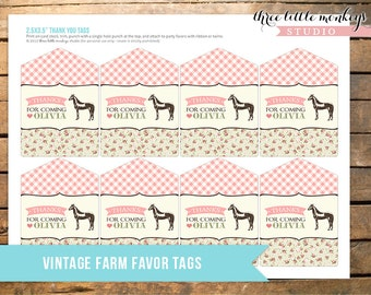 Vintage Farm Fresh Personalized Favor Thank You Tags