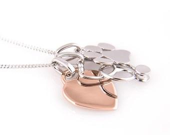 Veterinary Necklace, Stethoscope Paw Print and Rose Gold Plated Heart -Engraved-Vet Gift -Veterinary Graduation -Vet Tech -Veterinarian Gift