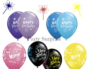 "Happy Birthday Balloons 11"" latex Purple Lilac Black Blue Pink Women Men Adults Children Birthday Balloons by Qualatex"