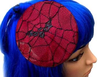 Bat Fascinator Hat-Red Vinyl-Round Fascinator with Net Spiderweb Bat Overlay