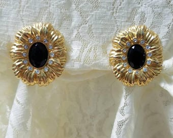 Kenneth Jay Lane for Avon Goldtone Flower Shape with Rhinestones and faceted black center