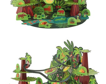 Tropical Forest Paper Toy - DIY Paper Craft Kit - Papercraft Kids