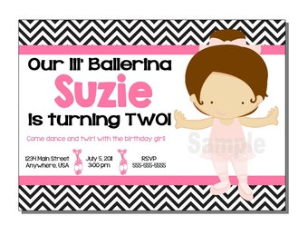 Ballerina Invitation Birthday Party- DIGITAL or PRINTED