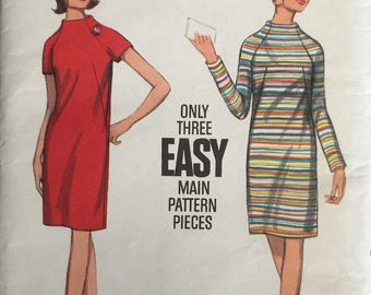 Butterick 4430, Size 18, Misses' One-Piece Dress Pattern, UNCUT, Vintage, Semi-Fitted, Slim Dress, Easy, Standing Neck, Retro