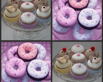 2 Knitting Patterns - instant download - donuts, cakes and buns just 4 US dollars