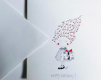 Hand-illustrated birthday card, girl birthday card, black and white birthday card, hand-illustrated card, music card, music birthday card