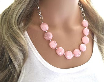 Light Pink Statement Necklace & Earrings, pink jewelry, Your Choice GOLD or SILVER, pink bib chunky necklace, pink necklace, pink circle