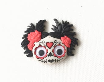Day of the Dead Pin, Sugar Skull Head Pin, Day of the Dead Pinup Girl, Brooch, Halloween Jewelry, Dia de los Muertos, Skeleton Face