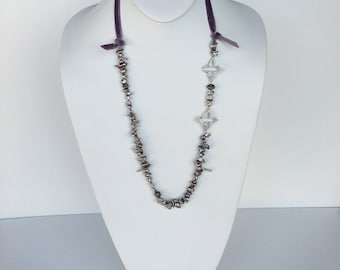 HANDMADE Grey, Beige, Ivory  Freshwater Pearl Necklace with Lavender Velvet Ribbon