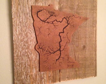 MN Art / Rustic / Barn wood Art / Fractal/ Minnesota