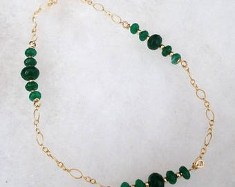 B2598 Genuine Emerald and 14 karat gold filled Bracelet (May's Birthstone)