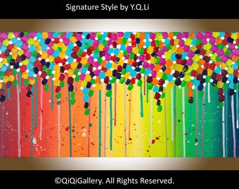 Colourful art Abstract art pink Green yellow blue red Original artwork acrylic painting wall art wall decor by qiqigallery