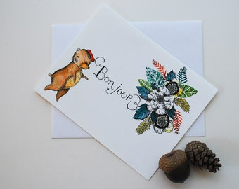 Little French Bear Bonjour Card