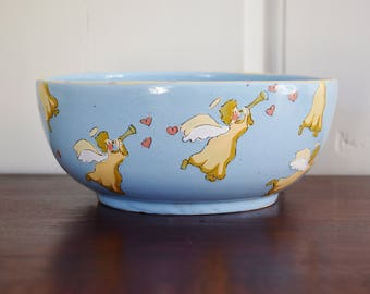 """Patricia Dupont Trumpeting Angels Ceramic Bowl, 10"""" Hand Thrown Painted Christmas Valentine's Studio Art Pottery Bowl Portugal Artist Signed"""