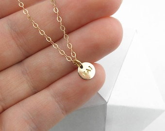 Custom Initial Pendant gift Personalized Disc Necklace Delicate Layering Necklace Monogram Pendant Dainty Disc Necklace teen gift for women