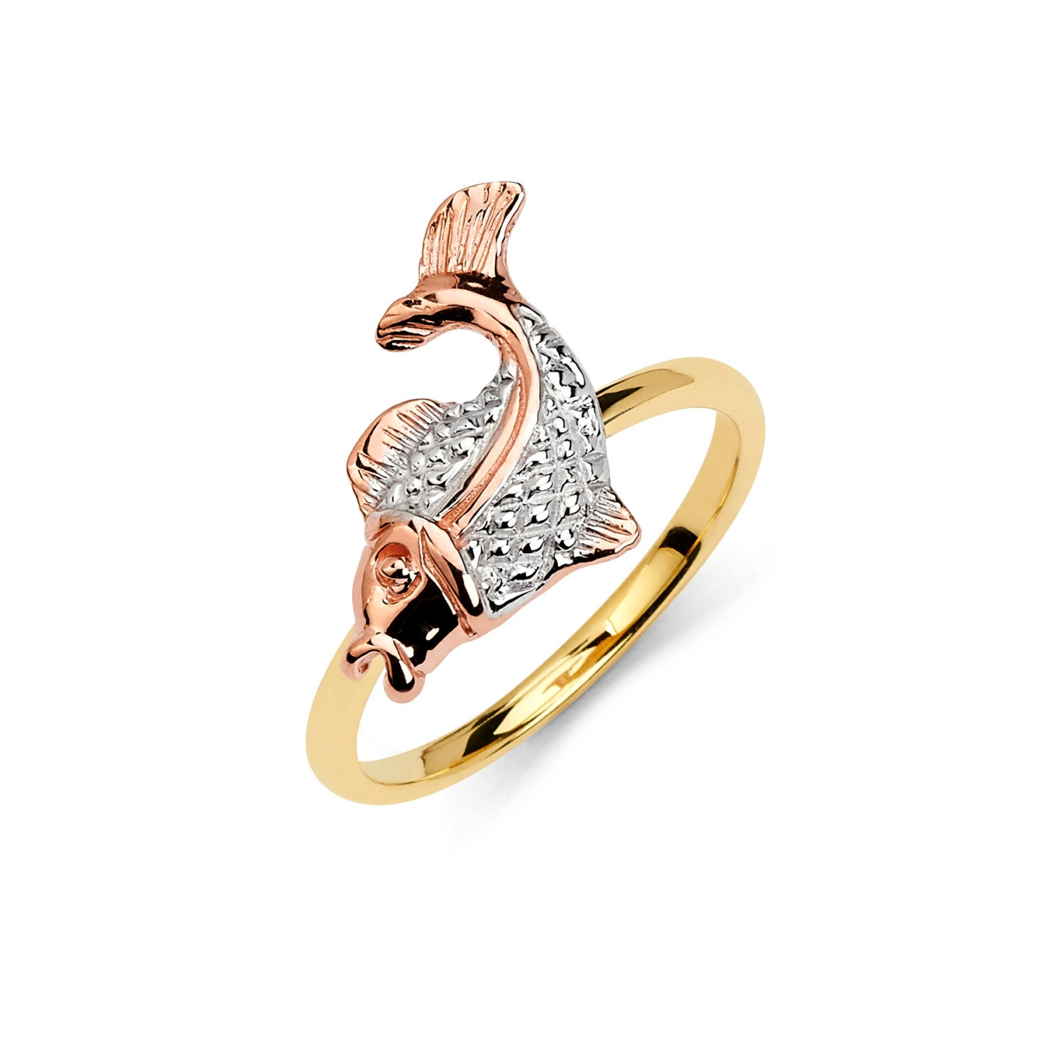 14K Tricolor Fish Ring Fish Ring Gold Ring Fish Jewelry