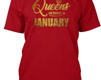 Queens Are Born In January Bday Gifts Hanes Tagless Tee Tshirt