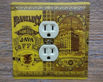 Mustard Decor Kitchen Outlet Cover Made From An Antique Coffee Tin Franklins Java Old Advertising For Vintage Home OLC-1021
