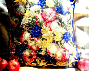 NEEDLEPOINT CANVAS//Printed Canvas/a Primavera/Needlepoint*Canvas Only/Fruit Design/Ideal for a Cushion or Footstool.//Was (100.00) Now!