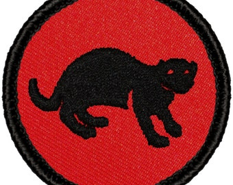 Red & Black Mongoose Patch (R008) 2 Inch Diameter Embroidered Patch