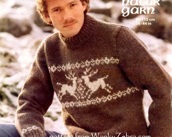 Knitable knitting knit Reindeer sweater  Pattern PDF 653 from WonkyZebra