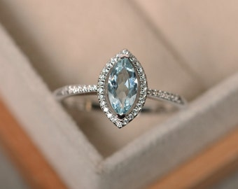 Marquise aquamarine ring, March birthstone, silver, promise ring