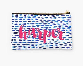 Personalized Cerulean Watercolor Pouch - choice of size, personalized makeup bag, monogrammed pouch, monogram, monogram gifts