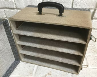 Vintage suitcase display shelves prop