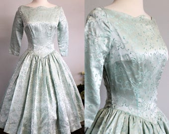 Vintage 1950s Brocade Party Dress / 50s Ice Blue Dress / Holiday Dress / Full Circle Skirt / Fit And Flare / New Look Dress