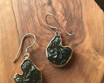 Moldavite Earrings, Sterling Silver 925.Handmade.