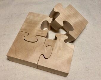 Montessori Puzzle / average size: 4 identical pieces of untreated Birch