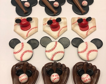Mickey Mouse baseball cupcake toppers