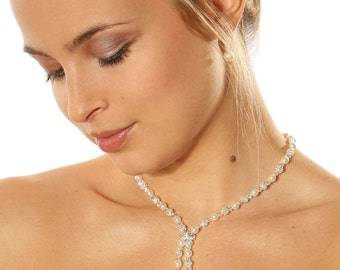 "Bridal necklace ""Innocence pendant"" hand-made in France using pearls and finest quality crystals"