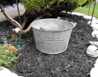 Primitive Bucket, Old Pail, Farmhouse Container, Cottage Decor, Rustic Flower Display, Garden Bucket, Antique, Vintage.
