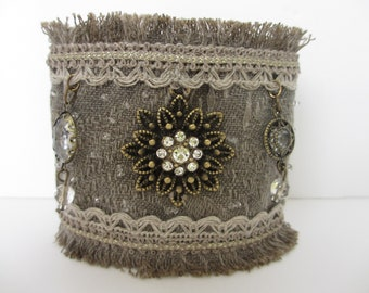 Textile cuff bracelet antique bronze findings, , crystal, lace embellishments, hand beaded