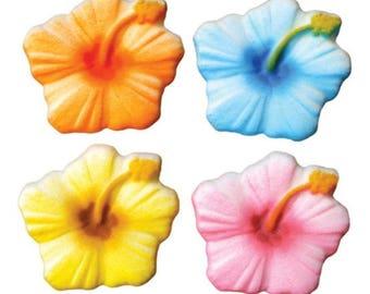Hibiscus Edible Sugar Decorations - 12 Count