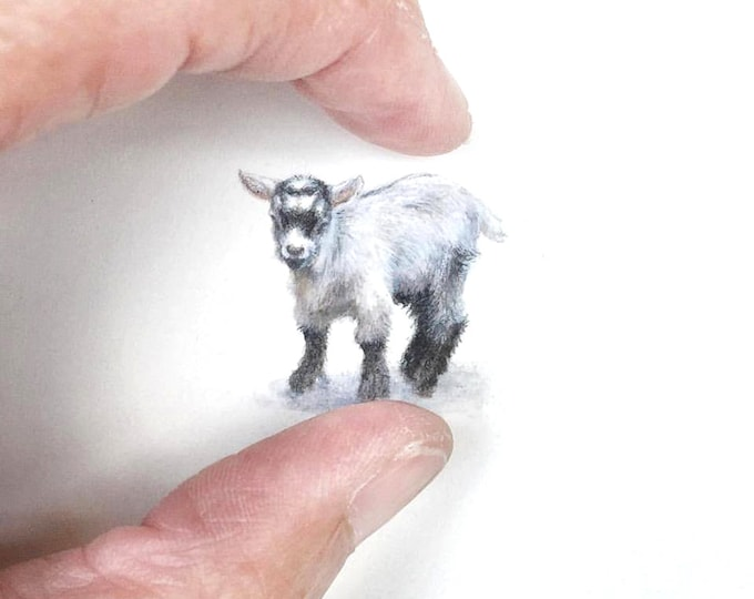 Print of Miniature painting of a baby Goat, tiny painting baby Goat art 5 x 5