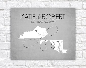 Personalized Map Gift, Two Map Art, Multi State, Long Distance Relationships, Simple, Modern, Gray Home Decor Wall Sign Art, Grey   WF372
