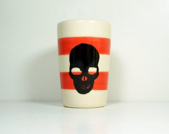 itty bitty cylinder / vase / cup with a Black Skull Silhouette print on Red-Orange stripes, Ready to Ship