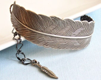 Silver Feather Bracelet Cuff - Bird Jewelry, Nature Jewelry, Bird Bracelet, Feather Jewelry