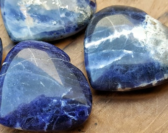 Sodalite Crystal Heart  - Hand Carved Healing Heart  for Crystal Grids, Energy Work, Readings or Terrarium 200